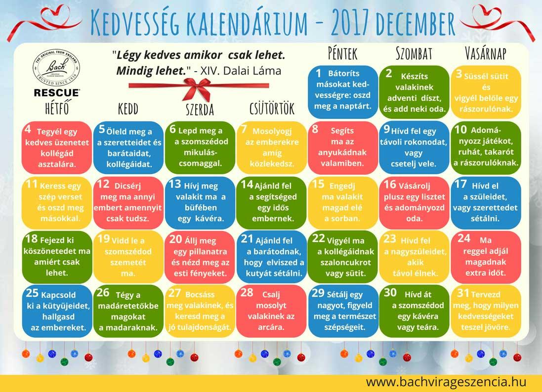 Kedvesség kalendárium 2017 december